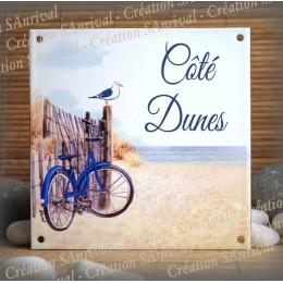Plaque maison émaillée décor Dunes, police great vibes