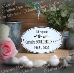Plaque Ovale funéraire personnalisée émaillée blanc
