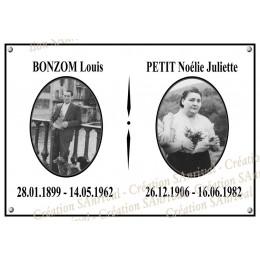 plaque funéraire rectangle 20x28cm + 2 ovales photo + filet noir