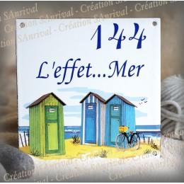 Plaque maison émaillée décor Cabine de plage