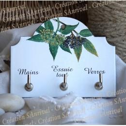 Enamel tea towel hanger decor wild flower