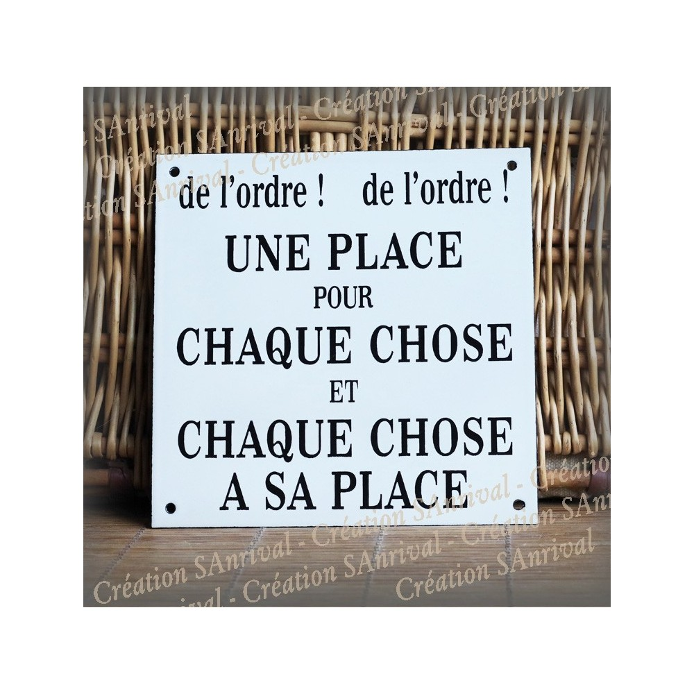 """french enamel plate """"chaque chose a sa place"""""""