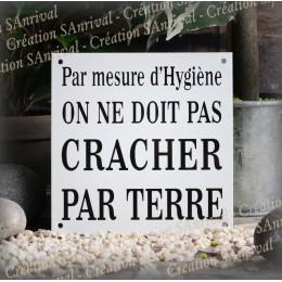 """White french enamel plate """"On ne doit pas cracher par terre"""""""