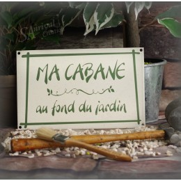 "Grès Enamel plate ""Ma Cabane au fond du jardin"""