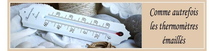 Thermomètre émaillé extérieur et intérieur - Thermomètres anciens