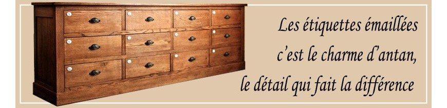 Petites étiquettes émaillées pour vos meubles, portes et objets de votre intérieur